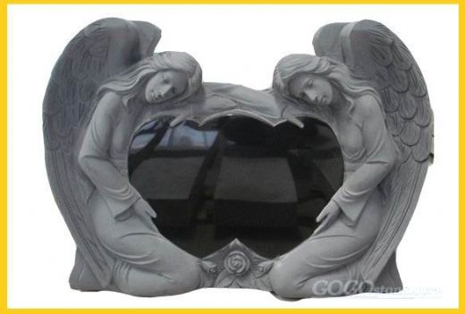 Western black granite Smiling Angel monument
