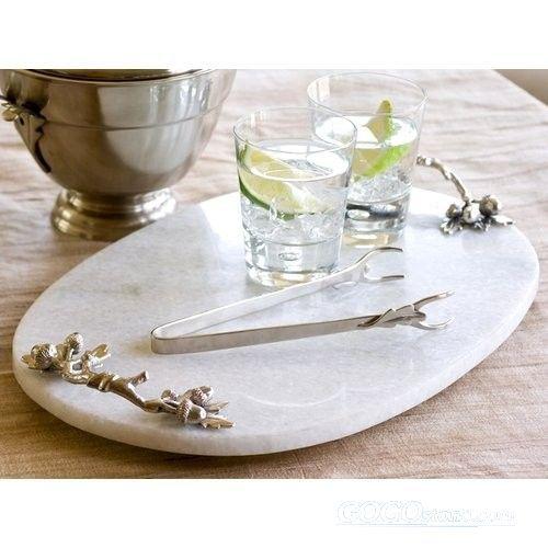 2015 new design round carrara white marble serving tray