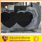 natural shanxi black granite angle double heart headstone