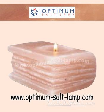 Book shape himalayan salt candle holder