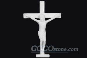 White Marble Statue of Jesus Cross