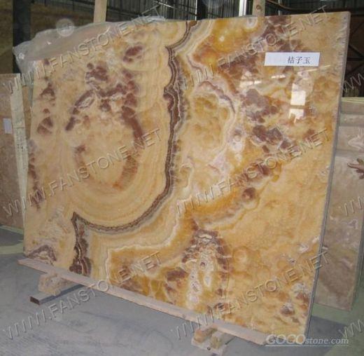 Orange onyx slabs
