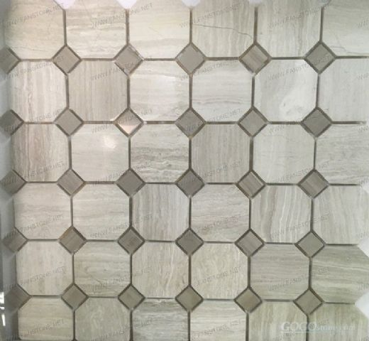 White wooden vein cut marble mosaic