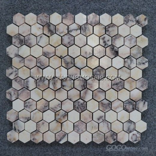Violet Marble Polished 1″ Hexagon Mosaic Tile