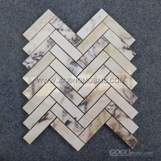 Violet Marble Polished Herringbone Mosaic Tile