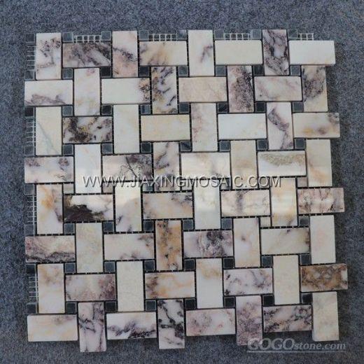 Violet Marble Polished Basketwave Mosaic Tile
