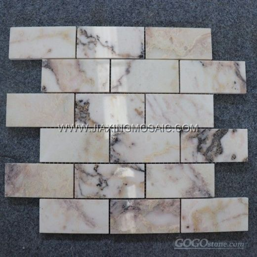"Violet Polished Marble Mosaic 2 x 4 "" Brick Marble Mosaic Tile"