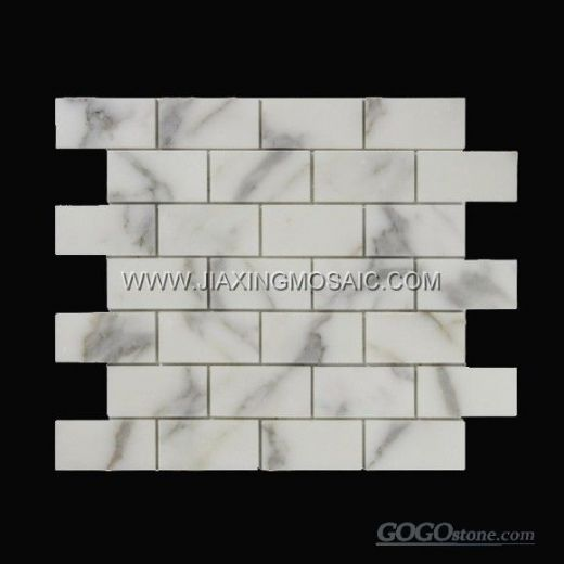 "Calacatta Gold Polished 1.5x3"" Brick Design Marble Mosaic Tiles"