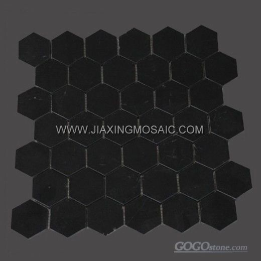 "Nero Marquina Marble Polished 2"" Hexagon Mosaic Tile"