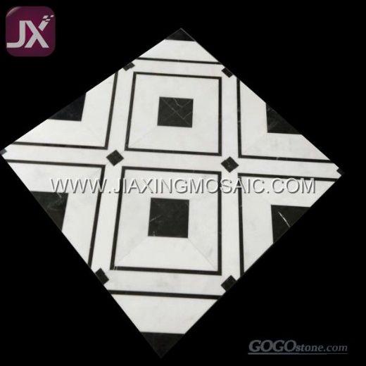 White Marble Waterjet Mosaic