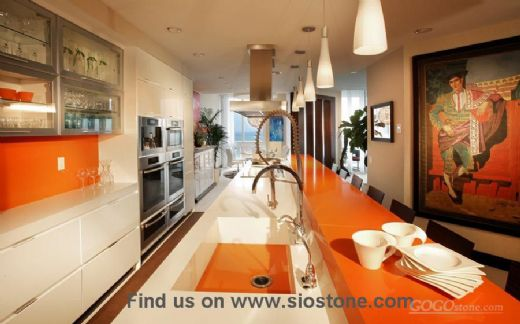 Bright Orange Quartz Stone Kitchen Countertop