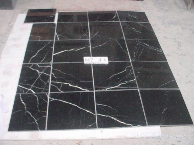 Black and white,Nero marquina marble slab and tile