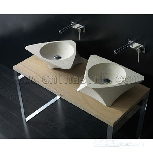 marble above-counter bathroom sink