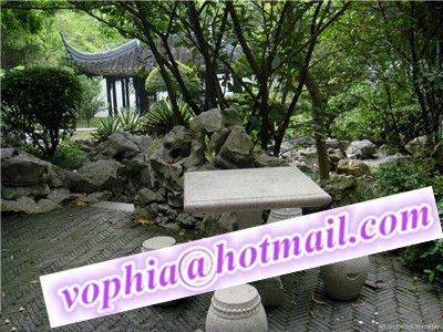 stone tables and chairs landscaping design