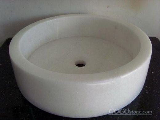 White Marble Vanity, White Marble Basin/Vessels