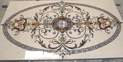 Waterjet marble inlay pattern